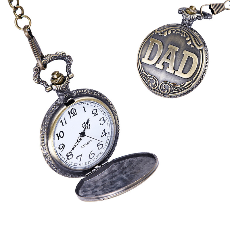 Retro Dad Letters Pocket Watch Bronze Pendant Watches with 42cm Chain Gift for Father Pappy LXH unique new bronze dad pocket watch necklace the greatest dad fob father vintage quartz men watches luxury gift relogio de bolso