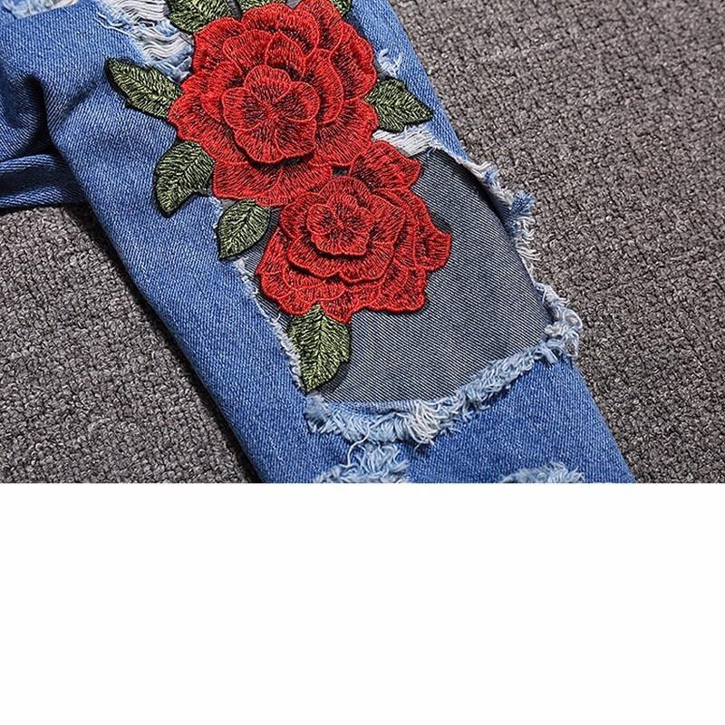 e5b8a6f722 Letnie Garnitury damskie Topy I Spodnie Outfits Moda Kwiatowy Haft Koszulki  Denim Dziura Ripped Jeans Spodnie 2 sztuka Zestawy SR320 w Letnie Garnitury  ...