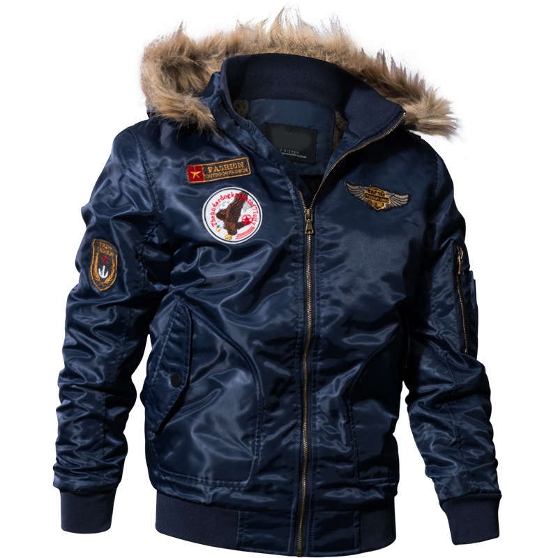 Men Autumn Winter Bomber Jacket Winter Parkas Motorcycle Jacket Military Pilot Jacket Army Coat Outerwear Hooded embroidery