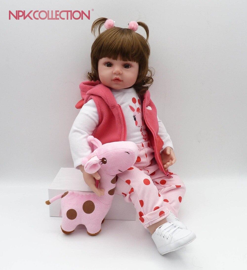 NPKCOLLECTION 48 cm boneca reborn silicone reborn bébé poupées com corpo de silicone menina bébé poupées enfants cadeau De Noël anniversaire
