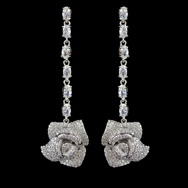 New Design Micro Pave Aaa Zircon Rose Flower Long Dangle Earrings For Women High Quality