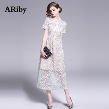 Women Dress Summer Elegant Long Maxi Dress 2019 New Office Lady Slimming Lace Stitching Stand Collar Short Sleeve A-Line Dresses duoupa 2019 new fashion dress summer dress small stand collar fashion stitching hollow long sleeve elegant dress women s