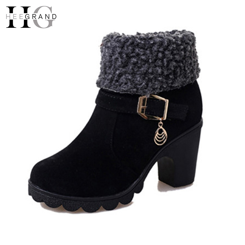 HEE GRAND Women Ankle Boots Platform Winter  Boots 2016 High Heels Casual Shoes Woman Slip On Women  Shoes Size 35-40 XWX4434 hee grand women snow boots winter flat panda pattern shoes woman fur cotton slip on snow ankle boots size 35 40 xwx4498