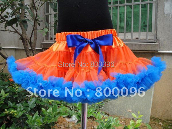 2015 Girl fall blue Bow Orange girls kids pettiskirts tutu PETS-095