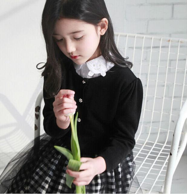 Moda 2015 Nova Primavera Outono Sólida Malha Cardigans Meninas Blusas De Malha Crianças Sweatcoat Desgaste Outerwear Preto Vermelho