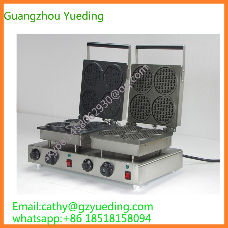 cute and round waffle making machine/double waffle maker with smile face and round waffle electric smile face shaped and round cheap double waffle maker