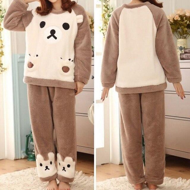 9c644f84690c 2018 nuevo pijama de Invierno para mujer, conjuntos de pijamas de franela y  animales,