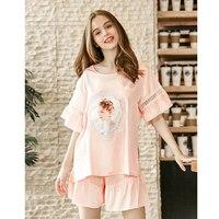 2018 Women Short Sleepwear Set Shorts Faux Silk Satin Pajamas Suit Female Sleep Two Piece Set Loungewear Female Home Clothing