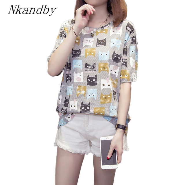 5e9607e59f216 Nkandby Plus size Cat Pattern Tshirt Summer Women Short sleeve Printing  Oversized T shirts 4XL 3XL Femme Round Basic Large Top-in T-Shirts from ...