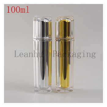100ml Gold/silver Acrylic Emulsion Pump Bottle,Women's Personal Care Cream Jars Cosmetic Packaging,DIY Empty Cosmetic Containers