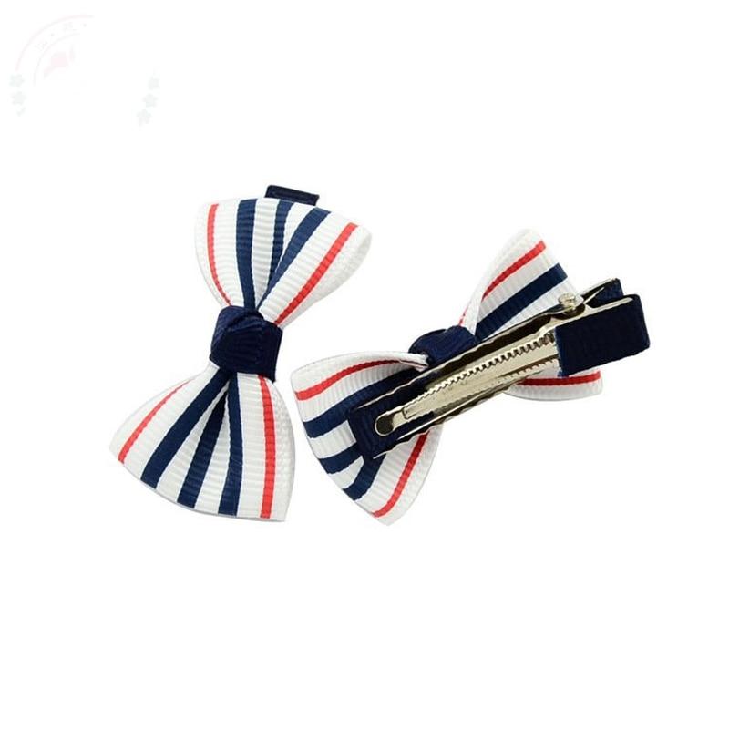 HTB13aQMPVXXXXaAaXXXq6xXFXXXa Trendy Girls Candy Color Dot Flower Print Ribbon Bow Hair Clips - 7 Styles