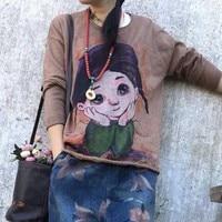 chic vintage Cartoon girl pattern o neck loose pullover sweater 2018 autumn winter mori girl