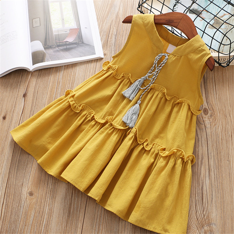 2019 high quality new casual active sleeveless Solid bow kid children girls dress baby girl clothes white yellow girls clothing