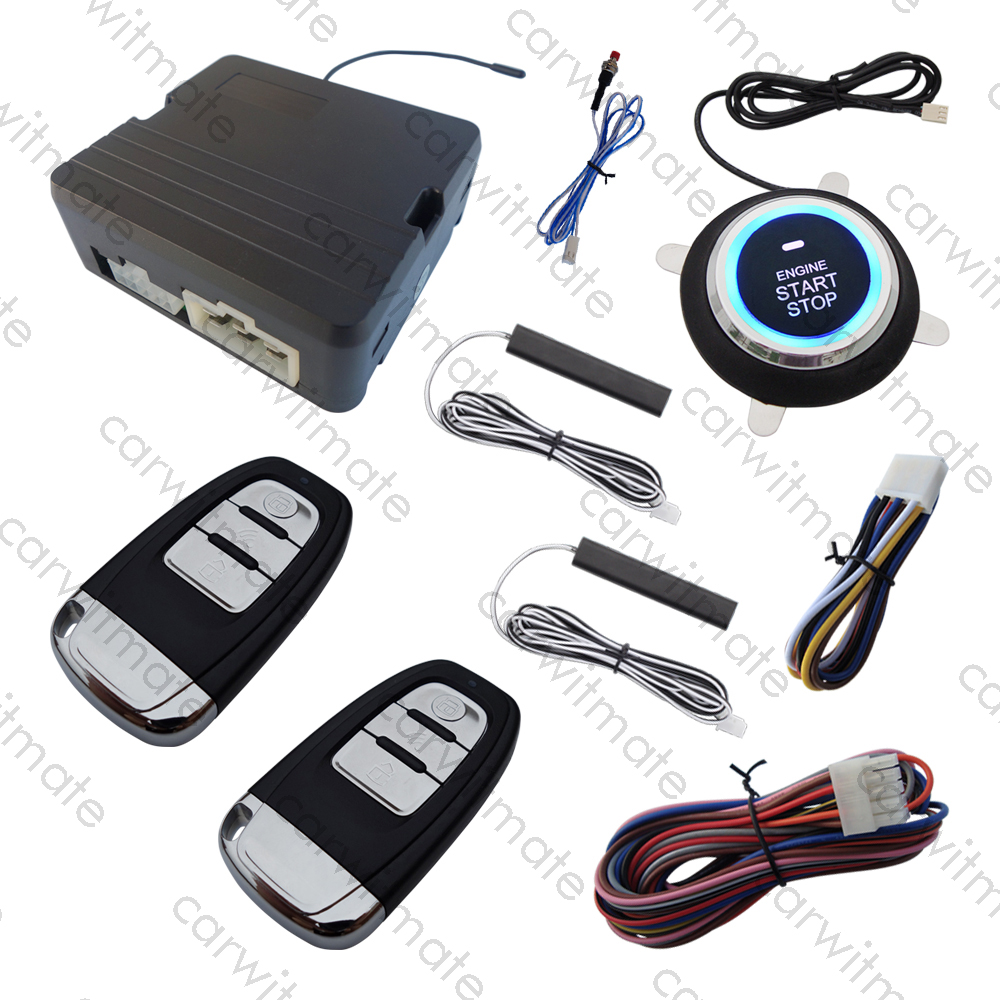 Universal PKE Car Alarm System Passive Keyless Entry Remote Start & Push Start Remote Trunk Release for DC 12V Cars automatic window close pke car alarm system with auto start passive keyless entry remote trunk release push button start stop