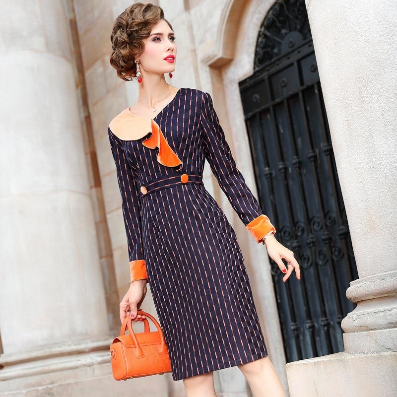 OL Office Lady Pencil dress 3xl 2019 Superior quality Women ladies Striped Party Dress Plus Size