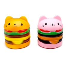 Pink Orange Kawaii Soft Squishy Jumbo mačka Hamburger igrače Dišeča Slow Rising Odlična Mehka Otrok Decompression Zabava Toy Relax