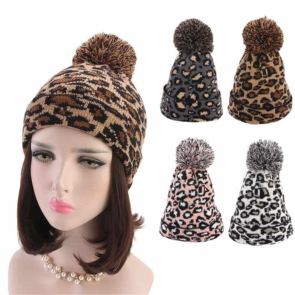 a1e7d0ba4c6de KANCOOLD 2018 Fashion Fashion Women Leopard Print Hats Faux Fur Ball Autumn  Winter Warm Crochet Knitted