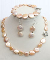 100% Selling full Natural 11 12mm Pink Coin Freshwater Pearl Necklace 18'' Bracelet Earrings Set