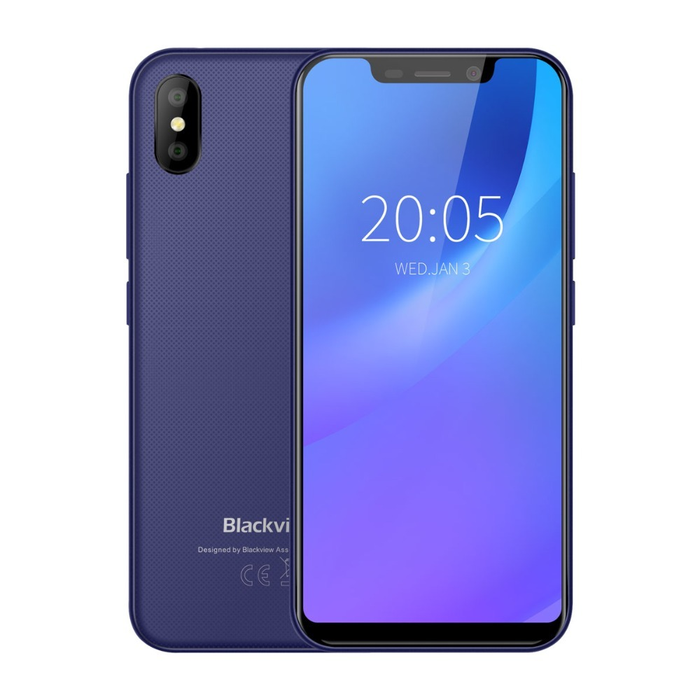 BLACKVIEW A30 Smartphone 5.5 Inch 19:9 MTK6580A Quad Core Android 8.1 2GB RAM 16GB ROM 8.0MP Dual SIM 3G Face ID Mobile Phone