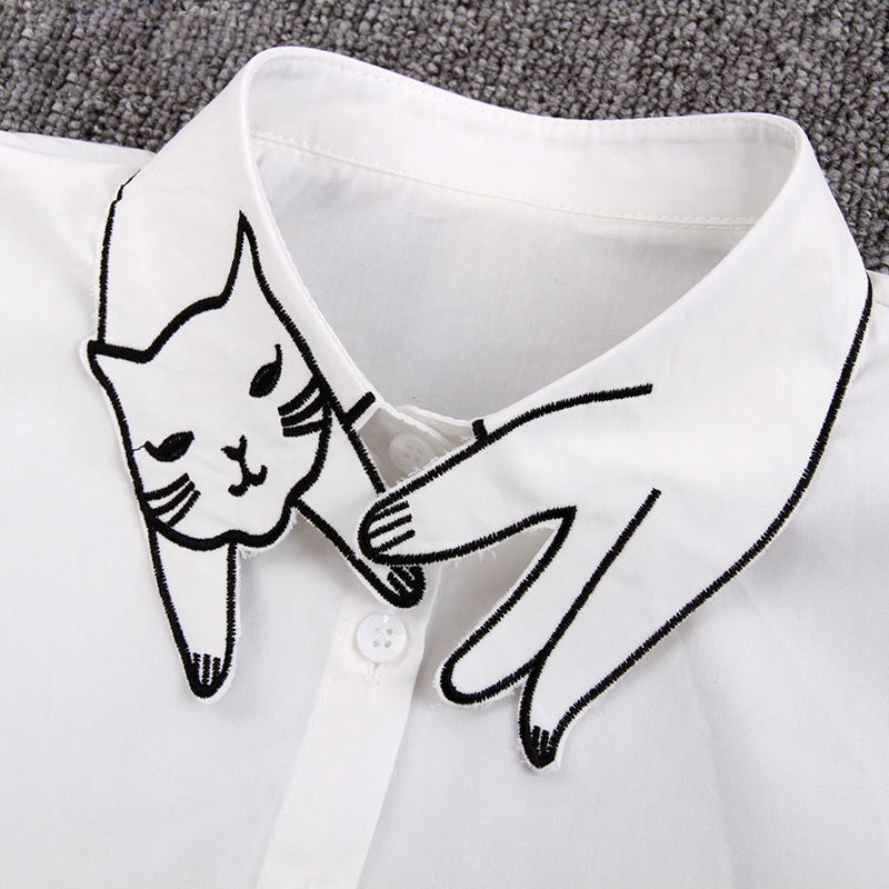 YSMILE Y New Women Cartoon Fake Collar Sweet Cute Embroidery Cat Female Detachable Collar Shirt Blouse Remove Necklace Collar