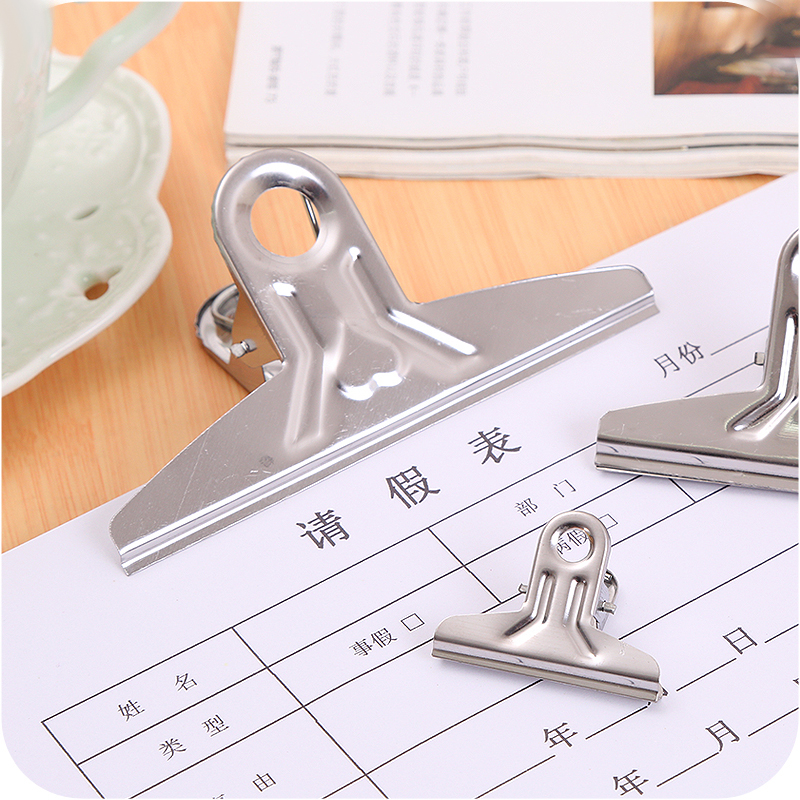 5pcs/lot Stainless Steel Folder Iron Clamp Paper Clip Dovetail Clips Office Supplies Have Small And Big Size