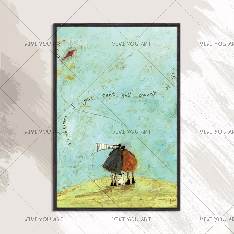 """100% Handmade Canvas Oil Painting """"Sometimes I just can't get enough of you """" Impressionst Picture Wall Art Home Decor Best Gift-in Painting & Calligraphy from Home & Garden    1"""