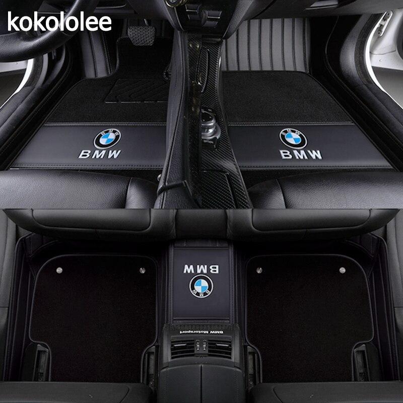 Kokololee Personnalisé plancher de la voiture tapis pour BMW tous les modèles X3 X1 X4 X5 X6 Z4 525 520 f30 f10 e46 e90 e60 e39 e84 e83 car styling