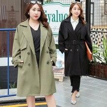 2018 Spring fat sister plus size womens spring dress new long windbreaker jacket