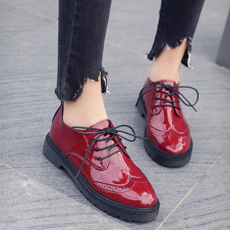 2018 New Autumn Creepers Platform Casual Shoes Woman Lace-Up Oxfords Spring Flats Fashion Solid Women Shoes Size 35-40 women oxfords flats shoes leather lace up platform shoes woman 2016 brand fashion female casual white creepers shoes ladies 801