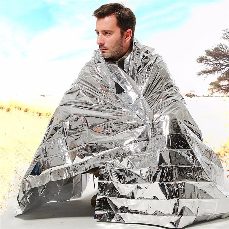 100pcs/pack Waterproof Emergency Survival Foil Thermal First Aid Rescue Blanket