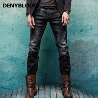 Denyblood Jeans Spring Winter Mens Denim Jeans Bleached Black Stretch Denim Slim Straight Distressed Jeans Ripped