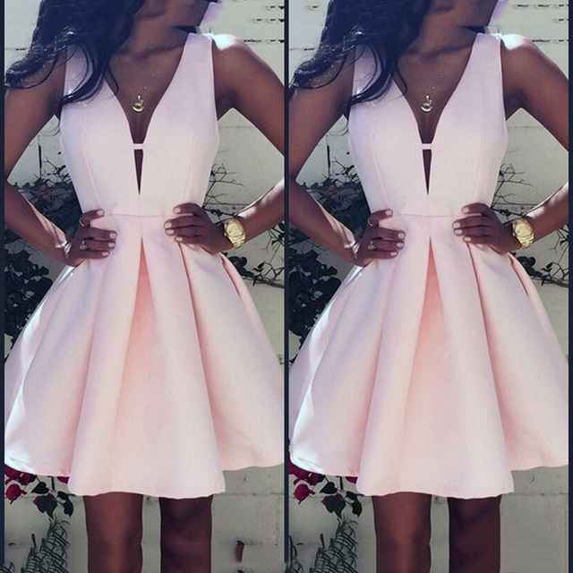 22204a97683 Sexy V-neck Womens Cocktail Dresses Summer style Vintage Simple Pink Satin  Mini Special Occasion Short Party Dress Vestidos