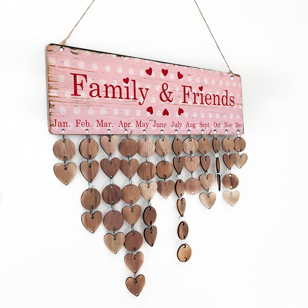 Pink Family Friends Pink Valentines Day Wood Calendar Wood