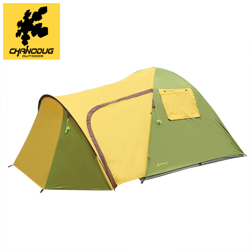 High quality 3-4 person double layers one hall one bedroom rainproof camping outdoor tent in one person