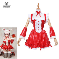 ROLECOS New Anime SUPER SONICO Cosplay Costumes Women Dress Red Christmas Costume Victorian Dresses Full Set