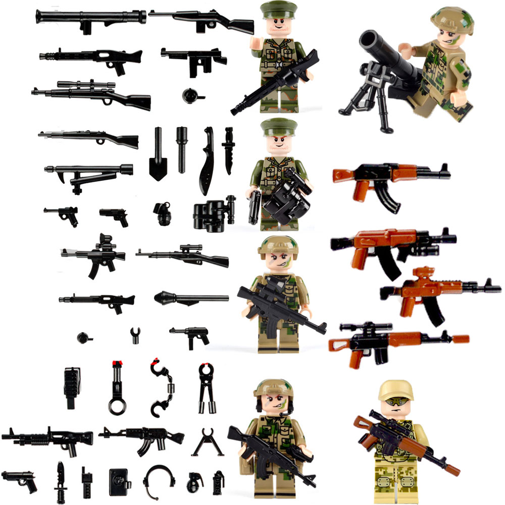 2018 Weapon Pack MOC Guns Military Swat Team Building Blocks City Policed Soldiers WW2 LegoINGlys Military Army Builder Series