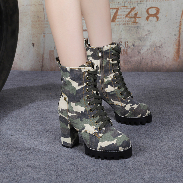 e236dc7a42201 Camouflage Students High-heeled Boots Thick with Plush Lady Shoes Women  Ankle Lace-Up Platform Thick Heel Boots Fashion Women