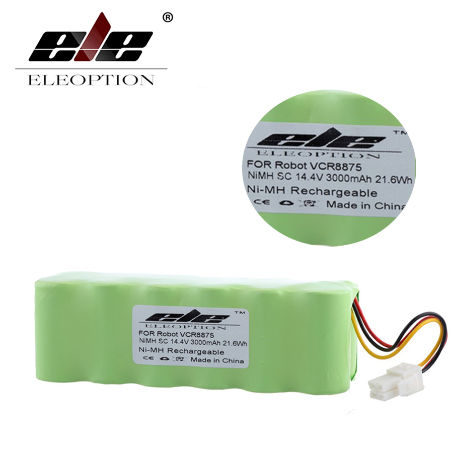 ELEOPTION 14.4V 3000mAh 3.0Ah Ni-MH Rechargeable Vacuum Cleaner Battery For Samsung NAVIBOT VCR8875 14.4 Volt 10 16pcs sc rechargeable battery 1 2v sub c size 3000mah ni mh ni mh cell with welding tab pin for electric drill vacuum cleaner