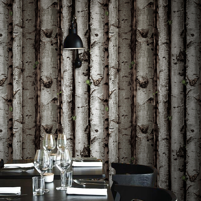 Looks like birch tree wood wallpaper roll for walls vinyl for Tree wallpaper for walls