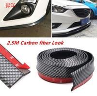 New Carbon fiber Rubber Soft Black bumper Strip Car 60mm Width 2.5m length Exterior Front Bumper Lip Kit / Car bumper Strip