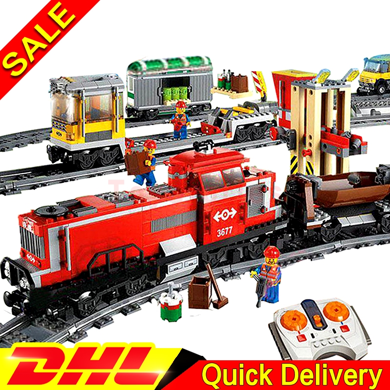 LEPIN 02039 City Red Cargo Train Building Brick Blocks RC Train Model educational legoings Toys children Gifts Develop 3677 lepin 02009 city engineering remote control rc train model