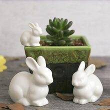 Adorável família de coelho cerâmica lebre estilo nórdico branco decoração para casa ornamentos desktop grande orelha mobiliário artesanato paisagem fadas
