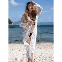 2019 Sexy White Crochet Bikini Covers Up Beach Coat Swimsuit Cover-Ups Lace Beachwear Knitted Cover-up Long Dress