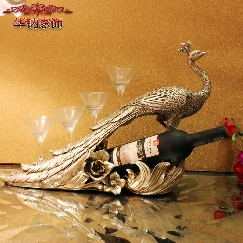 Hot Sale Home Decoration Accessories Peacock Wine Rack Wedding Gifts Housewarming Restaurant