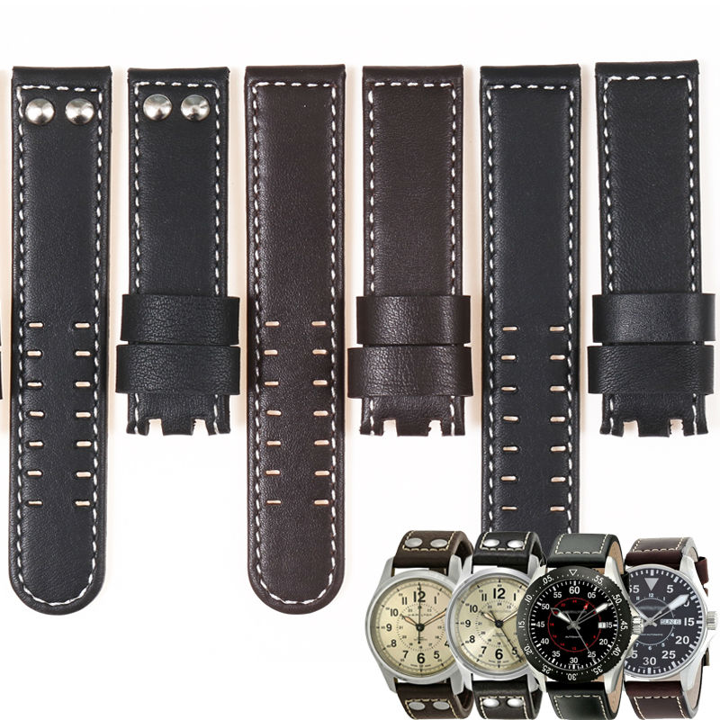 MASAQI Genuine Leather Watch Band For Hamilton KHAKI FIELD Man Watch H760250 22mm 20mm without buckle