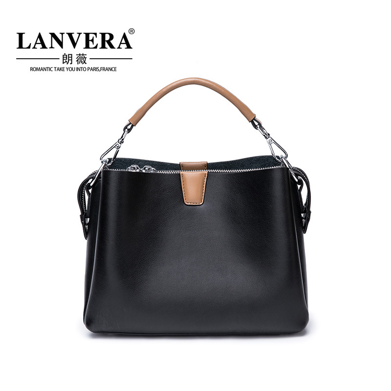 New Handbag Women Shoulder Bag Female Quality Genuine Leather Vintage Solid Color Casual Large Tote Bags High Ladies Handbag vintage handbag women casual tote bag female large shoulder messenger bags high quality pu leather handbag with fur ball bolsa
