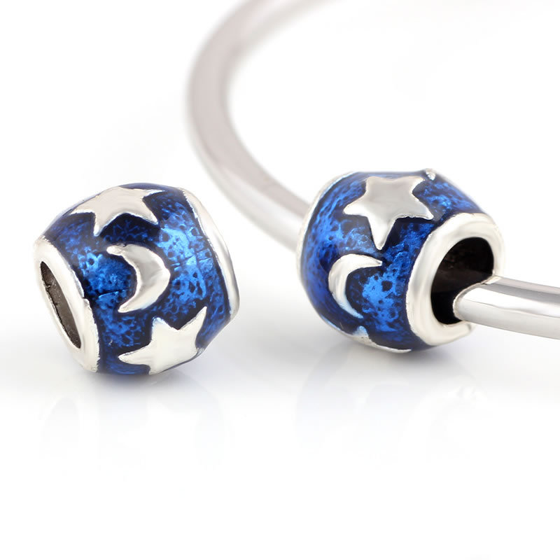 10 Pcs a Lot Blue Sky Moon Star Beads DIY European Bead Lampwork Beads Alloy Charm Bead Fit For Pandora Charms Bracelets ...