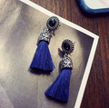 High quality PrePiece Carved Design Brincos Anti-silver Plated Alloy Long Ribbon Dangle Tassel Earrings Ethnic Jewelry for Women