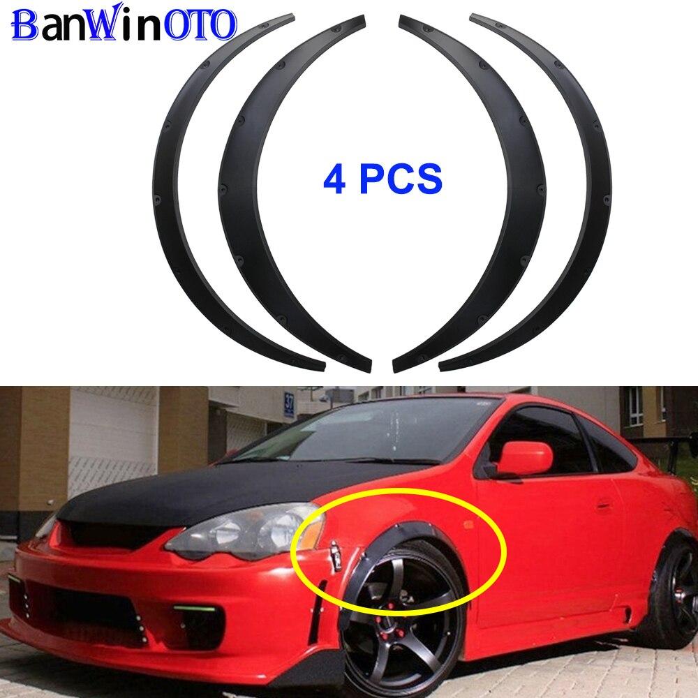 Evrensel 4 adet/takım araba çamurluk genişletici kemerler tekerlek kaş koruyucusu çamurluklar Widebody etiket üst ABS plastik LM001