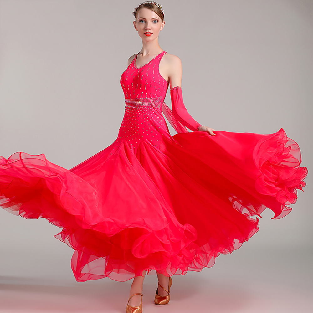 Popular Ballroom Dance Dresses For Ladies Multi Color Sleeveless Lace Skirt Female Women Square Stage Perform Tango Clothes I078